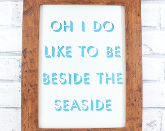 PAPERCUT - Oh I do like to be beside the seaside shadow lettering original papercut by QueenieDot