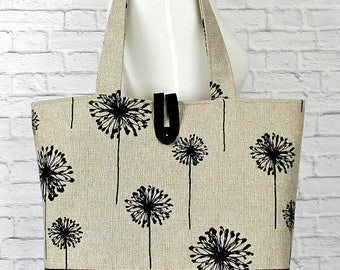 Knitting Bag, Mother's Day Gift, Gift For Her,  Dandelion tote bag, Beach Bag, Library Bag, Project Bag, Baby Bag. Work Bag