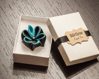 Spa Blue and Black with Leaf Adonis Kanzashi Flower with Black Crystal, Lapel Pin