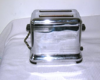 Vintage Art Deco PROCTOR Deluxe Automatic Toaster Polished Chrome Bakelite Handles Rare Works Great Cloth Cord Mint Vintage MADE USA Works