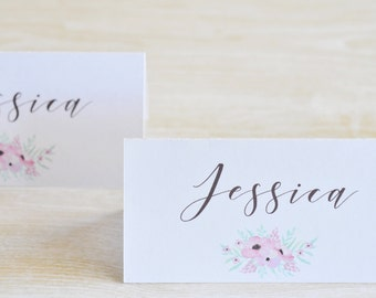 Pink Floral Place cards, Script Font, Wedding Place Card, White Place Card, Formal Party Place Card, Party Place Card, Watercolor Flowers