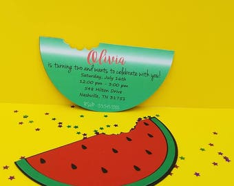 Watermelon Invitations, Summer Invitations, Watermelon, Spring Fun Invitation, ty Invitation, First Birthday Party, One in a Melon, Birthday