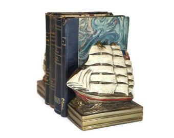Marion Bronze Clipper Ship Bookends, MB Sailing Ship Bookends, American Tall Ship Bookends, American Sailing Vessel Bookends, Sailboats