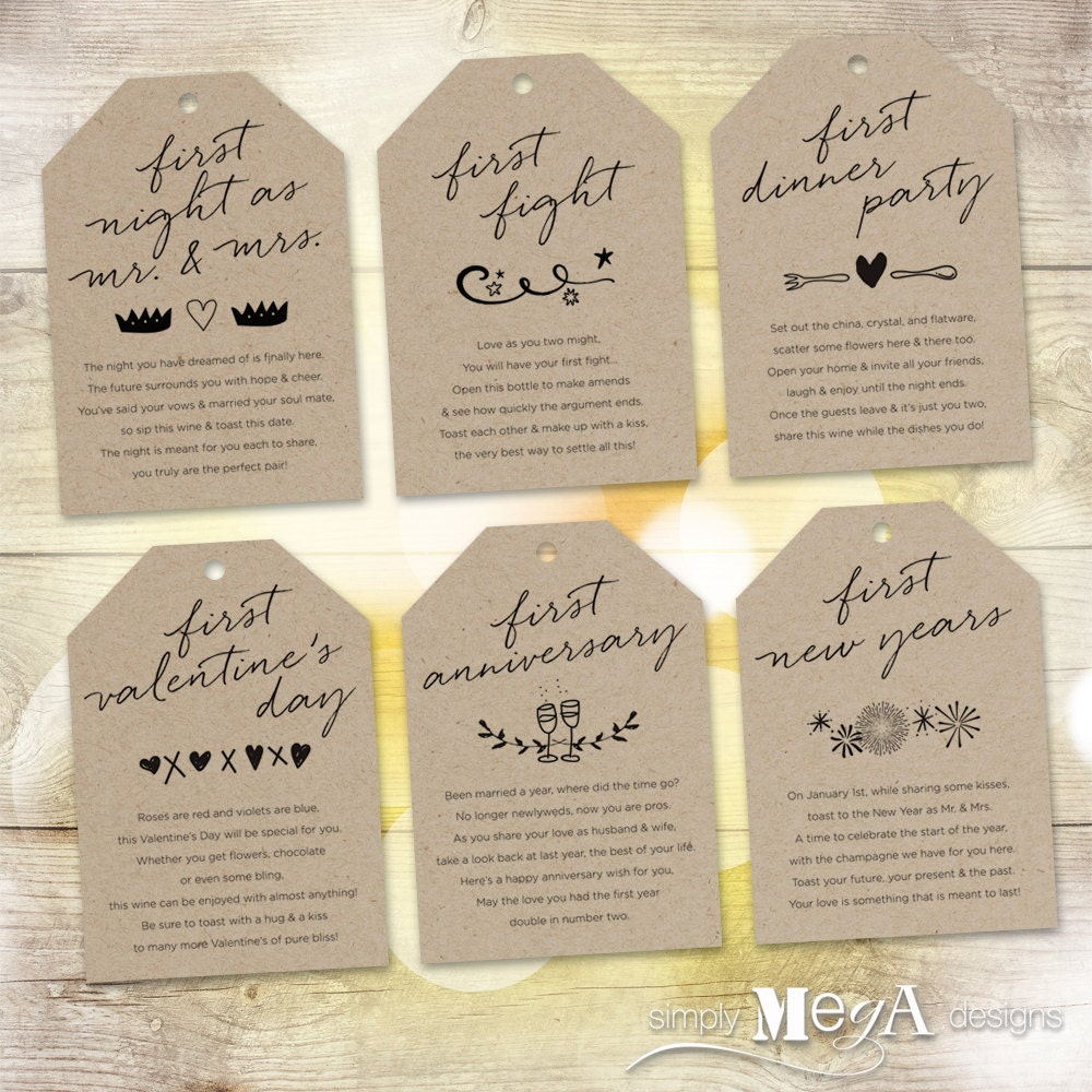 Wedding Gift Wine Tags Printable : Marriage Milestone Wine Basket Tags Set of 6 Bridal Shower