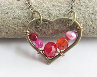 Pink Red and Orange Beaded Pearl Heart Necklace, Bright Pink Pearl, Hot Colors