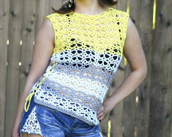 Sunshine and Lace Tank - Adult - PDF crochet pattern - summer, women, top, lace, beach, cover