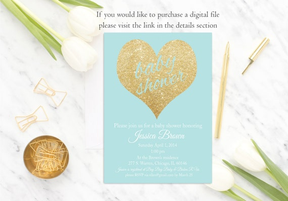 Blue Baby Shower Invitation Boy Baby Shower Invitation Printed or Digital Gold and Blue Gold Glitter Blue Baby Shower Invite Gold Glitter