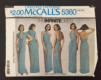 1976 Carefree Patterns from McCall's #5360 The Infinite Dress One Size - Cut, Complete
