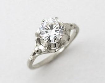 White gold engagement ring, 14k gold topaz ring, unique engagement ring, white topaz gold ring, 1.70 ct topaz gold ring