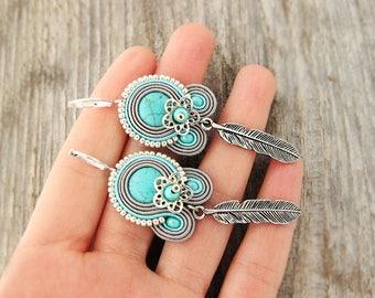 Grey feather earrings, silver grey dangling earrings, boho earrings