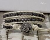 Wrap Bracelet, Blue Labradorite, Pearl Leather, Beaded, Jewelry, Bohemian, Wedding