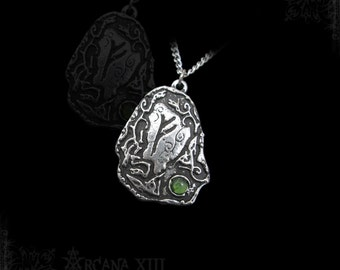 Handmade Fehu rune pendant with any gemstones, viking necklace pendant jewelry