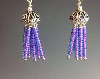 Beaded Tassel Earrings - Purple Earrings - Beaded Earrings - Tassel jewelry - unique jewelry - gift for her -Jellyfish lilac