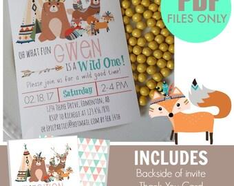 Tribal Woodland Printable Invitation | GIRLS | Tribal Birthday | Woodland Birthday |Woodland Invitation Woodland Animal Epic Parties by REVO