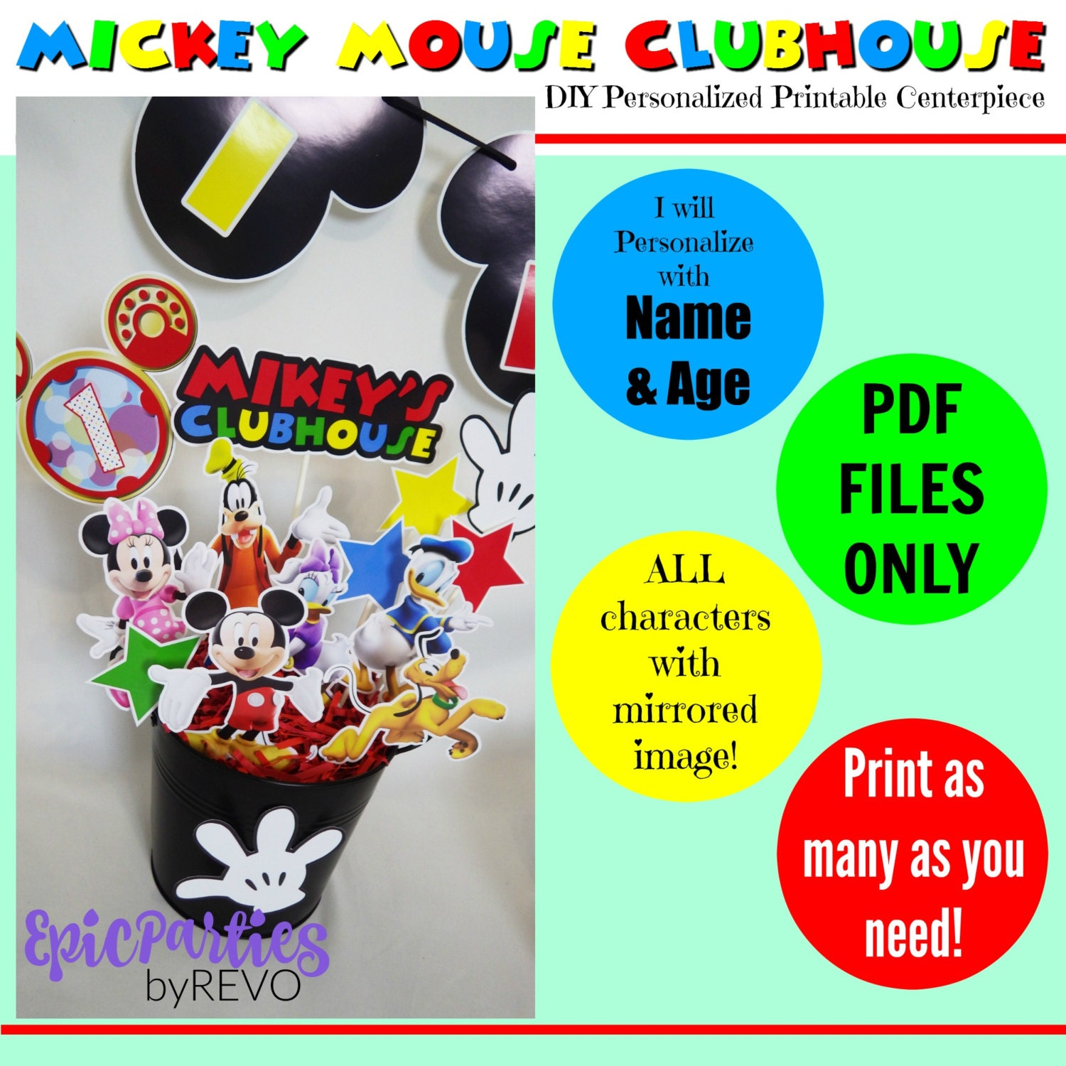 DIY Mickey Mouse Clubhouse Printable Centerpiece