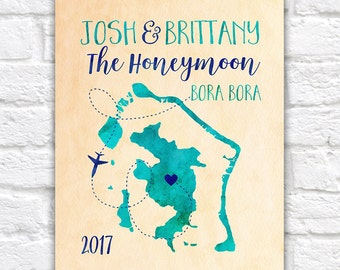Bora Bora Map, Custom Honeymoon Gift, Travel Map, Bora Bora Island, South Pacific, French Polynesia, Borabora, Luxury, Turquoise | WF361