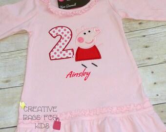 Peppa Pig Dress/ Personalized Peppa Pig Dress/ Personalized Peppa Pig Outfit/Peppa Pig Birthday dress Birthday Top