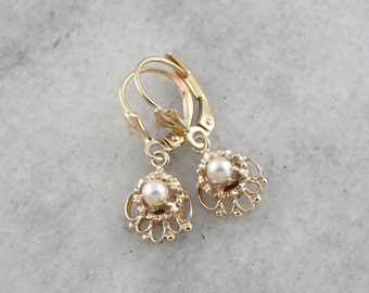 Pearl Filigree Drop Earrings in Yellow Gold Filigree EW9R0X-D