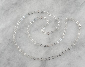 Flat Squared Link White Gold Chain Necklace 6KDUYC-P