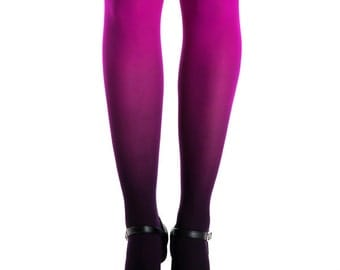 NEW! Black-magenta ombre tights