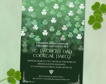 Raining Clover St. Patrick's Day Party Invitation; Printable, Evite or Printed (US Only) Invitation