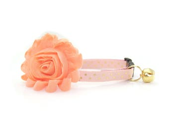 "Flower Cat Collar Set - ""Cotton Candy"" - Peach Detachable Flower Corsage + Peach Pink w/ Gold Dot Collar"