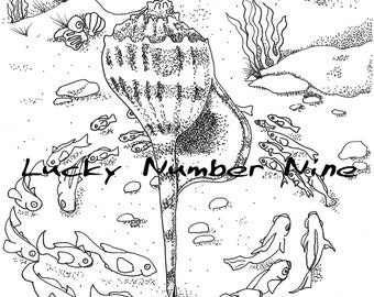 Circle Shell Adult Coloring Page by Dory @ Lucky No. 9