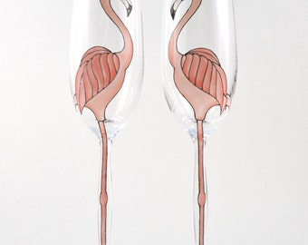 Pair of Bride and Groom Flamingo Champagne Flutes