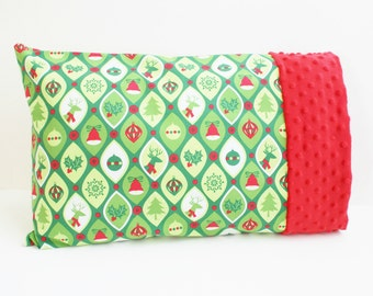 Green Toddler Travel Pillowcase for 12 x 16 Or 13 x 18 Inch Pillow - Cotton and Minky Pillow case - Small Kids Christmas Pillow - Reindeer