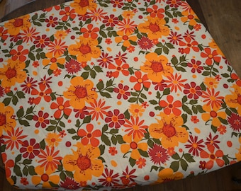 FOR CRISTY: Vintage 70s psychedelic upholstery weight orange red floral fabric retro 15 yards