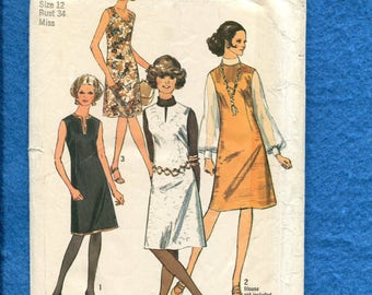 1970's Simplicity 9151 A-Line Dress or Jumper with Your Choice of Neckline Size 12