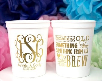 personalized cup monogram cup wedding favor stadium cup plastic cup wedding