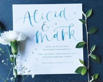 Watercolour Calligraphy Wedding Invitation Sample