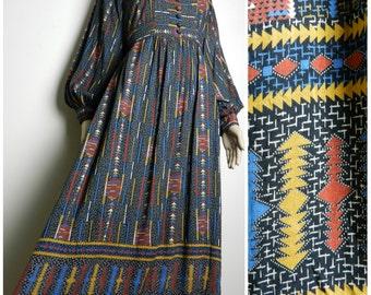 70s VISCOSE South American Native Indian print empire waist tie back midi dress bohemian black white blue red gold u.k. 12 - 16 M