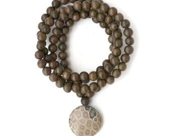 Fossil Coral Mala, 108 Gray Meditation Beads For Kundalini Balance and Soothing Energy, Handmade Yoga Malas