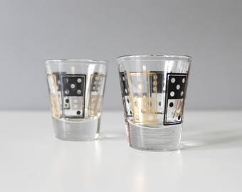 2 Anchor Hocking Domino Shot Glasses Black & Gold Mid Century