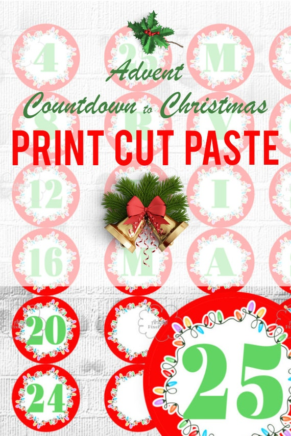 Printable Advent Calendar, Countdown Christmas, Number 1-25 and Letters MERRY CHRISTMAS , DIY ...