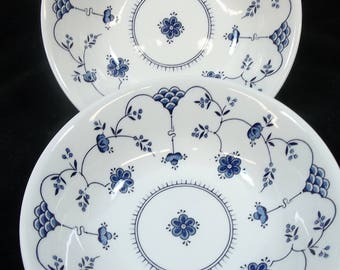"""Churchill Finlandia Cereal Desert Fruit Bowls Pair Blue White Floral Scales Made in England 6"""""""