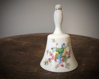 Vintage Ceramic Bell Hand Painted Birds and Flowers White Antique Dinner Bell Eurasian Blue Tit MARKED 185 Mid Century 1950's Decor Tea Time