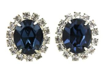 Blue Rhinestone Earrings, Blue Rhinestone Cluster Earrings, Large Blue Earrings, Blue Rhinestone Stud Earrings