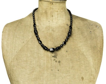Black Glass Bead Necklace, Black Bead Necklace, Black Beaded Necklace, Long Black Necklace