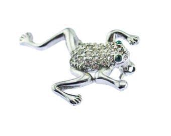 Vintage Frog Brooch, Rhinestone Frog Brooch, Silver and Rhinestone Frog Pin