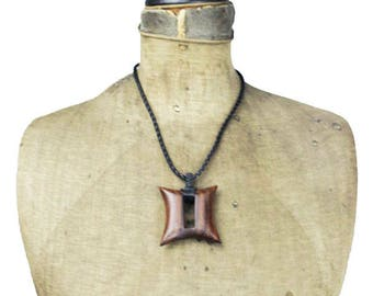 Vintage Wood Bead Necklace, Wood Square Pendant Necklace, Wood and Leather Necklace, Wood Square Necklace