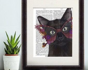Black Cat Art print - Black Cat and Flower Glasses - black cat print black cat gift for cat lover black cat picture