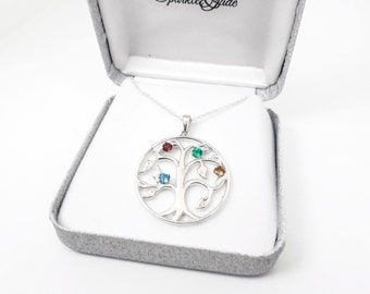 Personalized Sterling Silver 4 or 5 Stone Birthstone Family Tree Circle Pendant Necklace
