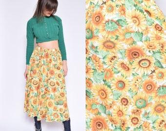 Vintage 80's Sunflower Print Maxi Skirt / Yellow Floral Skirt / Sunflower Print Pleated Skirt - Size Medium