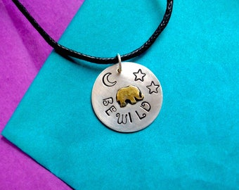 "925 Silver Elephant Necklace, ""BE WILD"" travel charm necklace"