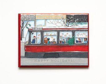 Holiday Cards - Streetcar - Toronto-themed - happy holidays - winter - outdoor - nature / HLY-STREETCAR