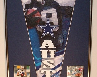 Dallas Cowboys Miles Austin Pennant & Cards...Custom Framed!!!