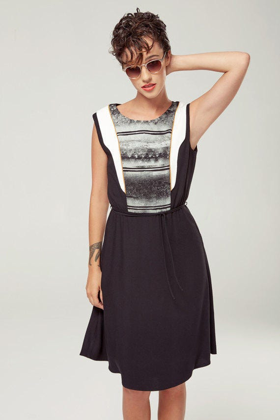 SAMARE - sleeveless skater dress, empire waist for women - black with deconstructed silkscreen like edgy and grunge